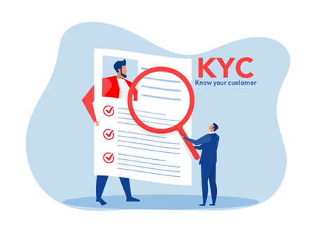 KYC or know your customer with business verifying the identity of its clients concept at the partners-to-be through a magnifying glass vector illustrator