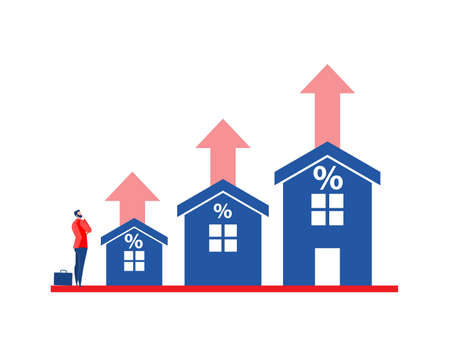 Business in real estate or housing price rising up concept vector