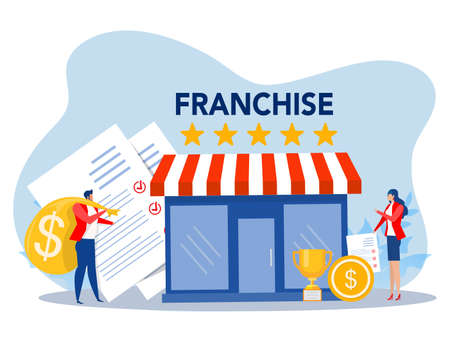 Franchise shop business,People shopping and Start Franchise Small Enterprise, Company or Shop with Home Office,vector illustrator Stock Illustratie