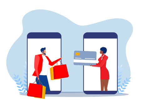 Woman pay via apps Mobile banking app and payment by credit card via electronic wallet wirelessly. vector illustration Stock Illustratie