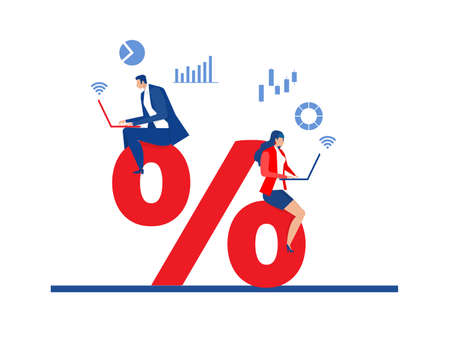 Business people research market and discount percent vector illustrator.