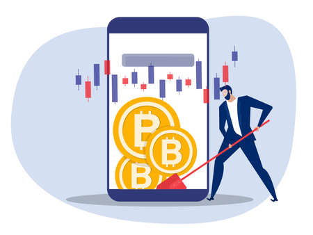 Man dig bitcoin coins on phone, Digital currency wallet,. Vector illustration in a flat style