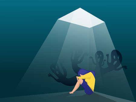 Depressed girl with anxiety and scary fantasies feeling sorrow; fears; sadness vector illustration