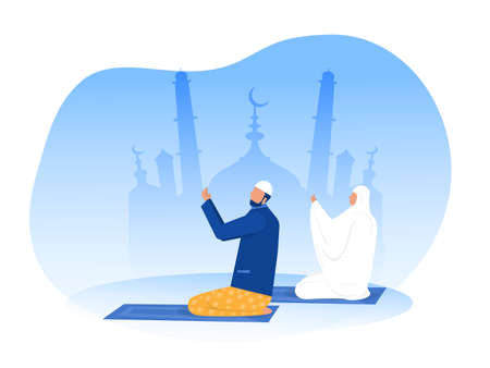 Religious Muslim Prayer prayer in traditional clothes full length vertical vector illustrationin mosque background vector graphics