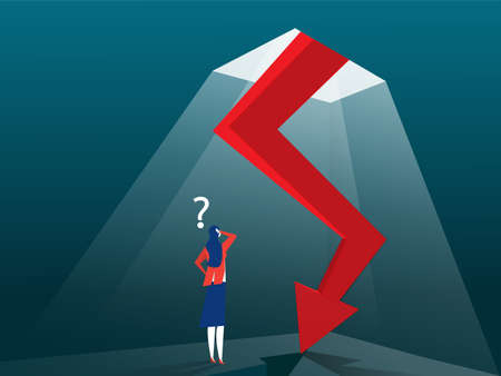 Businesswoman looking down at the falling arrow. Business and finance concept. Vector, Illustration, Flat