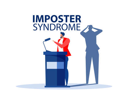 Imposter syndrome.businessman standing for her present profile with fear shadow Back. Anxiety and lack of self confidence at work; the person fakes is someone else concept