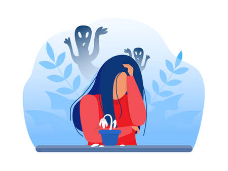 Depressed girl with anxiety and scary fantasies feeling sorrow,fears, sadness vector illustration Vettoriali
