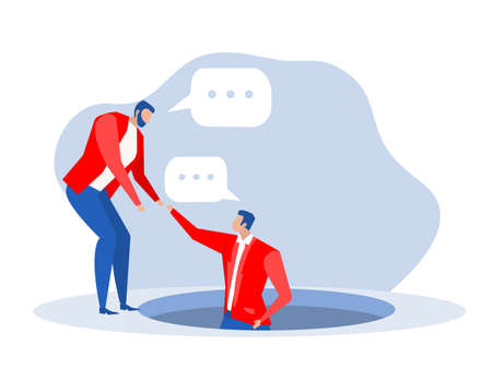 Business people helping employees from pit empathy concept.Vector illustration
