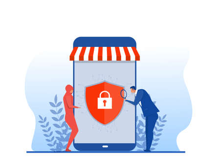 Shop online store banking security, secure online shopping,vector illustrator