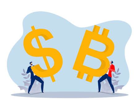 businessman holding a dollar and bitcoin coin for invest currency . flat vector character illustration.