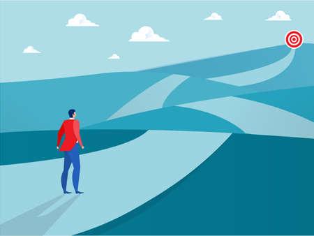 Businessman looking way  to goal ,target on blue background Vector illustration Stock Illustratie