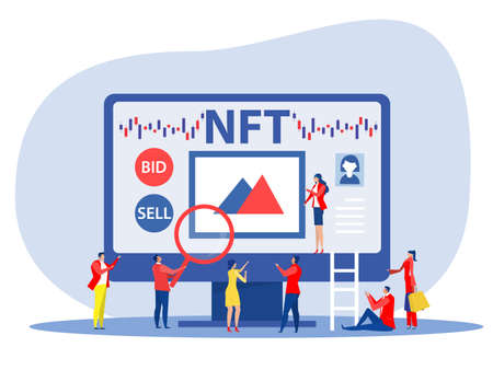 Non fungible token sell and buy art on market place illustration landing page for websites, mobile applications vector