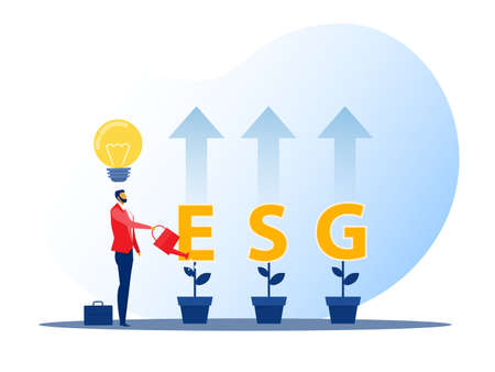 ESG or ecology problem concept, businessman leader watering seedling growth invest concept vector illustrator