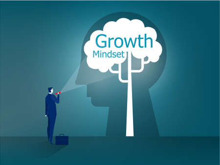 Businessman stands with a flashlight to growth mindset on head human concept vector