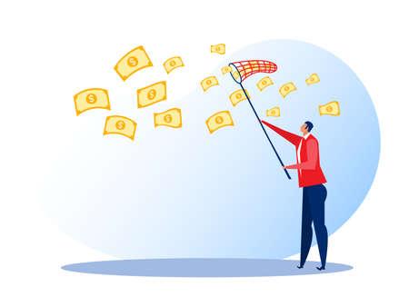 businessman trying to catch money fly sky vector illustrator. Stock Illustratie