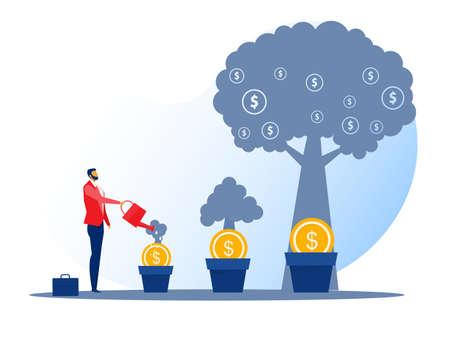 illustrator business watering money tree , investment finance, growth financial Stock Illustratie