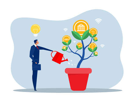 ESG or ecology problem concept; businessman leader watering seedling growth invest concept vector illustrator