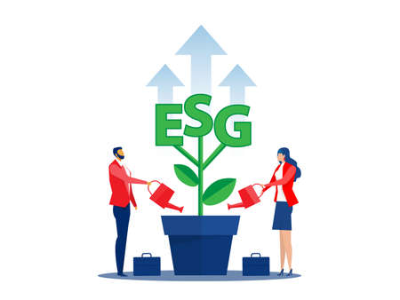 ESG or ecology problem concept, Two peoplewatering seedling growth invest concept vector illustrator Stock Illustratie