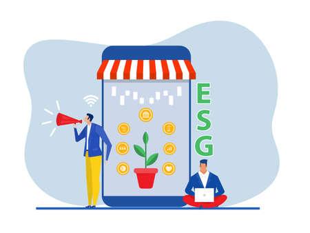 Businessman online shop promotion ESG or ecology  problem,Environmental, Social concept with marketing announce vector illustrator
