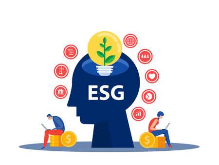 People development strategy tiny person concept.ESG awareness as environmental social governance evaluation outline vector