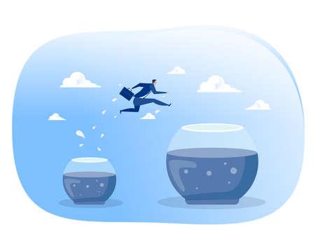 Businessman jumps into bigger empty aquarium. New life, big opportunities, challenge,comfort zone concept Vector illustration.
