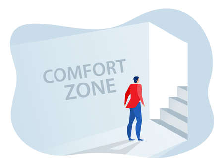 Businessman standing goes out of comfort circle for new success. comfort zone concept vector illustrator