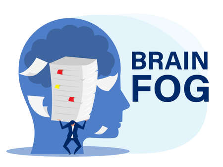 Businessman hard work with many papers on head as anxiety, brain fog, crisis,concept vector illustrato