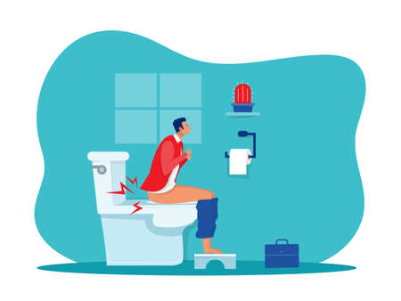 businessman sits on toilet bowl with his stomach ache and possibly a bowel disease Vector illustration of a flat design Stock Illustratie