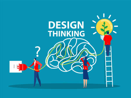 Design thinking concept. Generating and implementing business innovations. Busuness idea light bulb flat cartoon design. Vector illustration