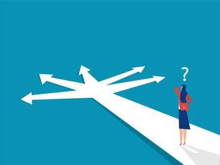 New way concept. Beginning journey adventures and opportunities. Businesswoman on road outdoor. illustration Stock Illustratie