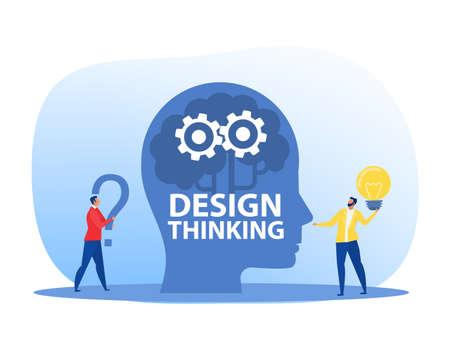 New idea engineering, business model innovation and design thinking concept. Design thinking vector illustrator.