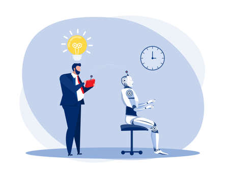 Businessman test a robot Artificial intelligence technology with remote control.vector illustrator