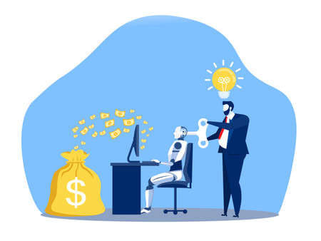 Businessman controlling a robot working make money with key control. Artificial intelligence technology business concept. Stock Illustratie