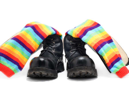 Heavy shoes and striped socks isolated on white background Stock Photo - 8085268