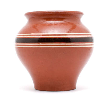 Brown rural clay pot isolated on white background