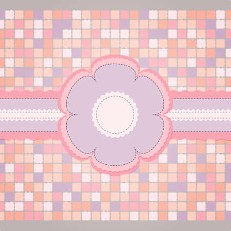 Pink sewing template for greeting card Vector