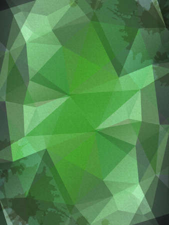 Vector triangle green abstract background with paper texture and blots in the corners Vector