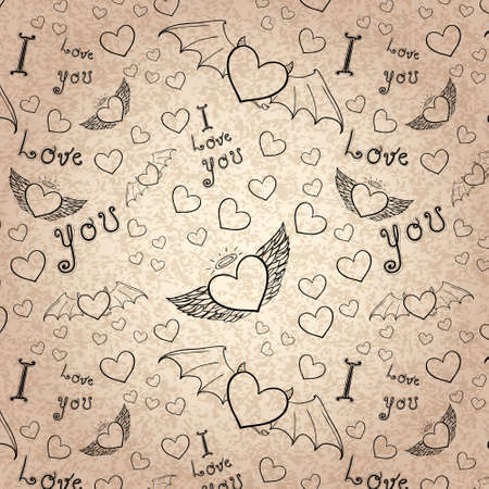 love you seamless black on paper Vector