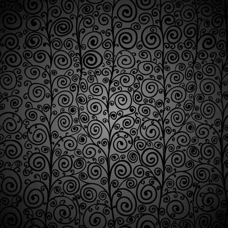 Curly black seamless pattern Vector