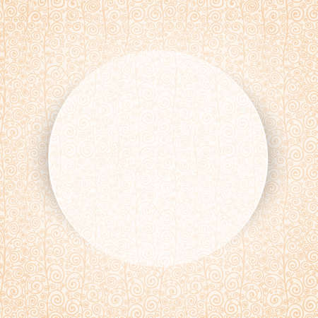 Round paper frame on curly pastel pattern