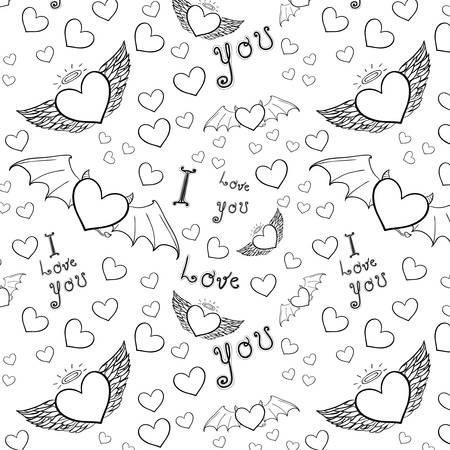 Transparent love you seamless black on white Vector
