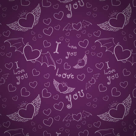 love you seamless white on purple Vector