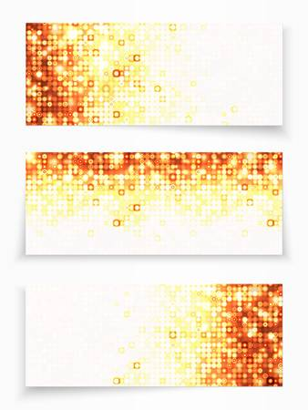 Set of 3 banners with gold circles Illustration