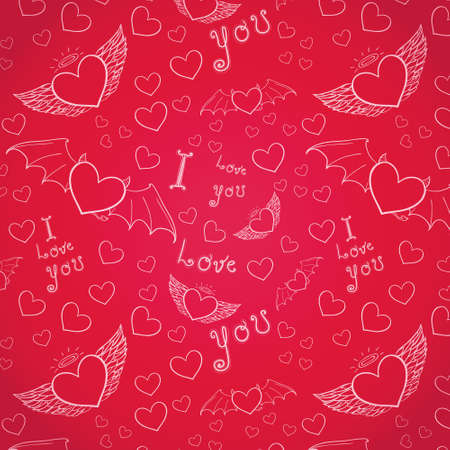 love you seamless white on bright pink Vector