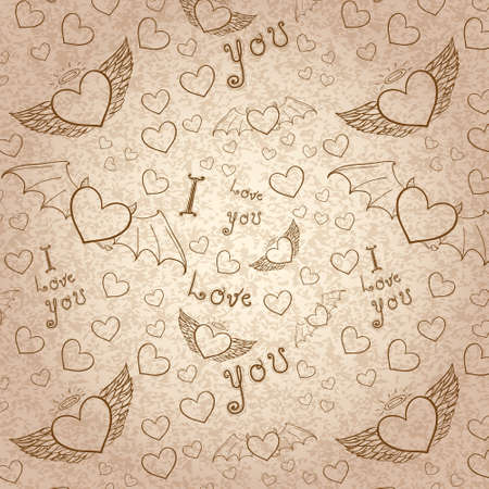 love you seamless sepia on paper Vector