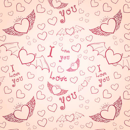 love you seamless pink on white Vector