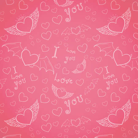 love you seamless white on pink Vector