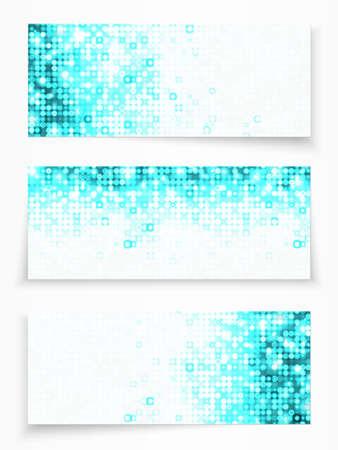 web header: Juego de 3 banners con c�rculos azules Vectores