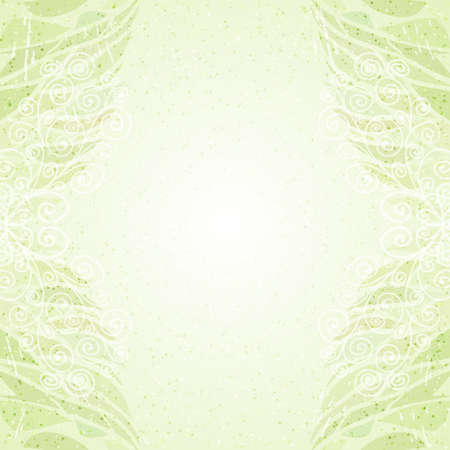 Vintage abstract green floral card vertical Vector