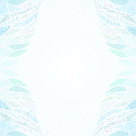 Abstract blue floral card vertical curly Vector